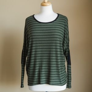 Windsor Long Sleeve Olive Green Top with stripes